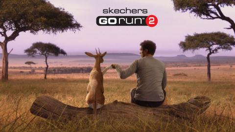 Man befriends gazelle in the Skechers GOrun 2 Super Bowl Commercial (Photo: Business Wire)